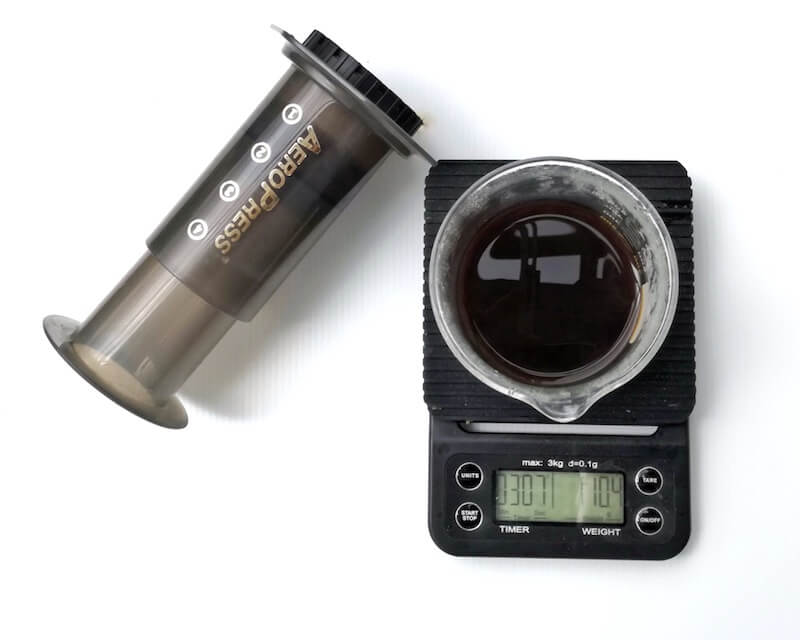 aeropress and digital coffee scale