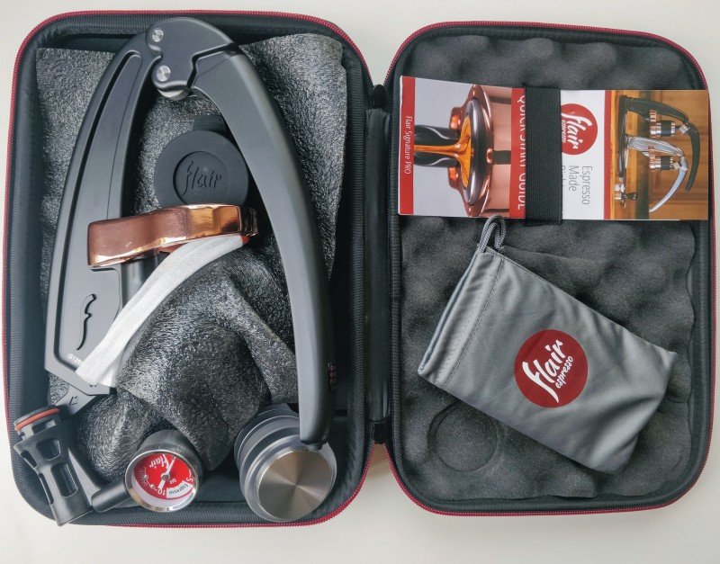 inside the flair espresso suitcase