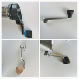hand crank from four different hand grinders