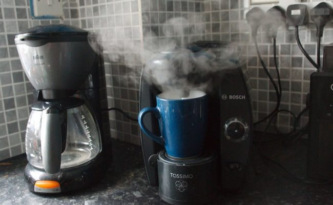Steaming coffee makers